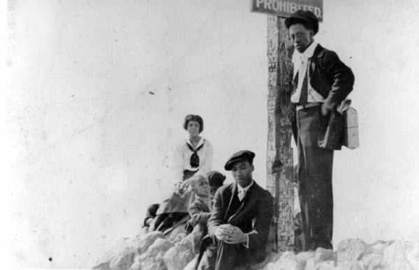 Black family at a segregated beach, ca. 1925 (image credit: Los Angeles Public Library)