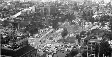 "Bunker Hill from City Hall, c. 1950. The intersection at the bottom of the picture is Hill and 1st. Grand runs left to right at the top (from ""Los Angeles Before the Freeways"" by Arnold Heylin, Los Angeles, 1981)"