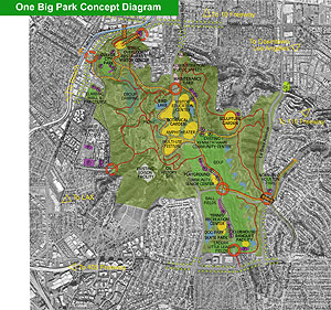 Plan of baldwin hills park (image credit: Mia Lehrer + Associates; Hood Design)