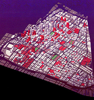 Downtown LA 2020: existing Buildings (1993) in grey and Proposed Buildings (2020) in red, based on open space, transportation and built form strategies outlined in the Plan. (Downtown Strategic Plan)