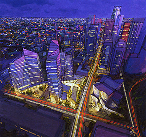 "Grand Avenue Committee: ""Grand Avenue Looking South"" 2003 (published in Symphony: Frank Gehry's Walt Disney Concert Hall)"