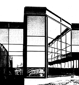 fig 3 : Teledyne Labs (detail), Northridge, CA. Cesar Pelli and Anthony Lumsden for DMJM. design 1966, completion 1968 (credit: Cesar Pelli & Associates in John Pastier, Cesar Pelli (London: Granada, 1980) 27)