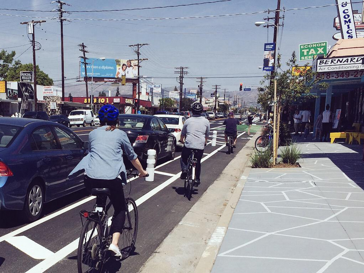Riding in the Bike Lane on Reseda Boulevard. Courtesy of Great Streets Initiative.