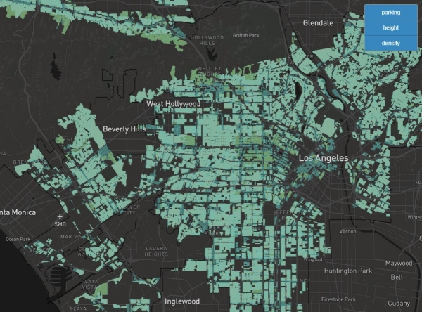 Interactive map from Policy Club shows parking, height, and density proportion for proposed mass housing.